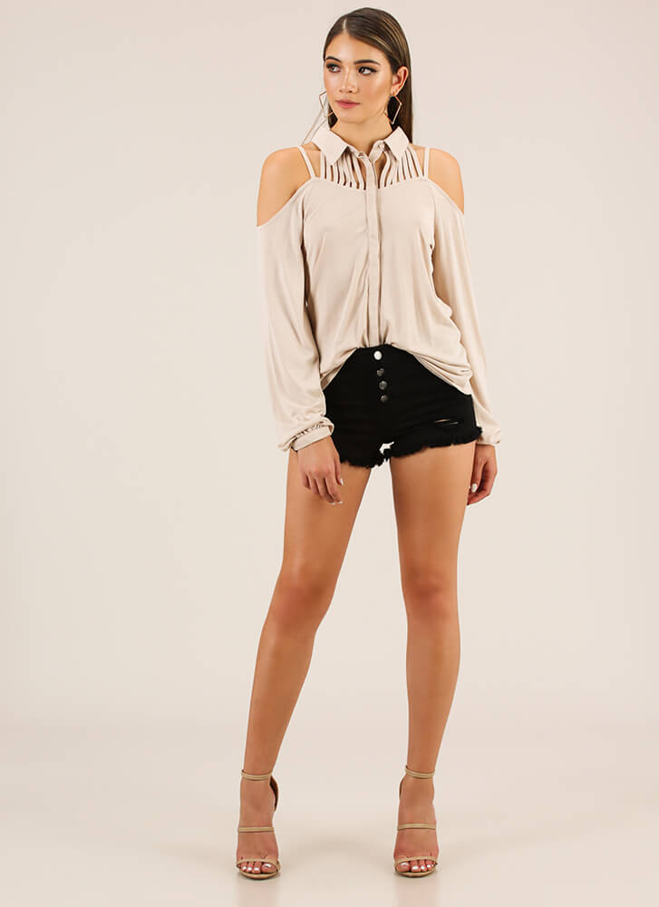 Keep Me Strappy Button-Up Blouse OYSTER