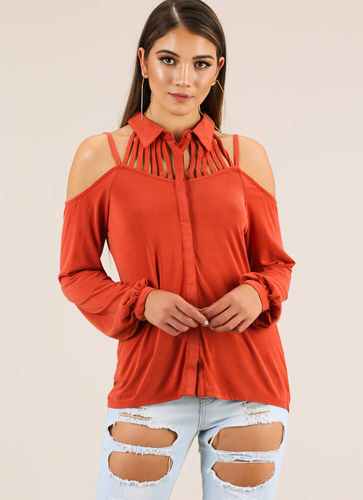 Keep Me Strappy Button-Up Blouse PUMPKIN