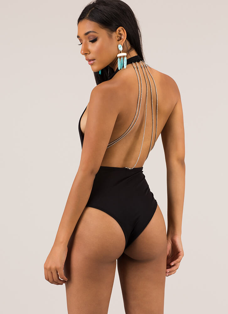 Chain Of Command Halter Thong Bodysuit BLACK (You Saved $13)