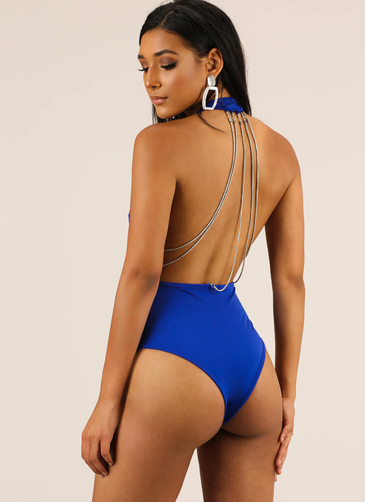 Chain Of Command Halter Thong Bodysuit ROYAL