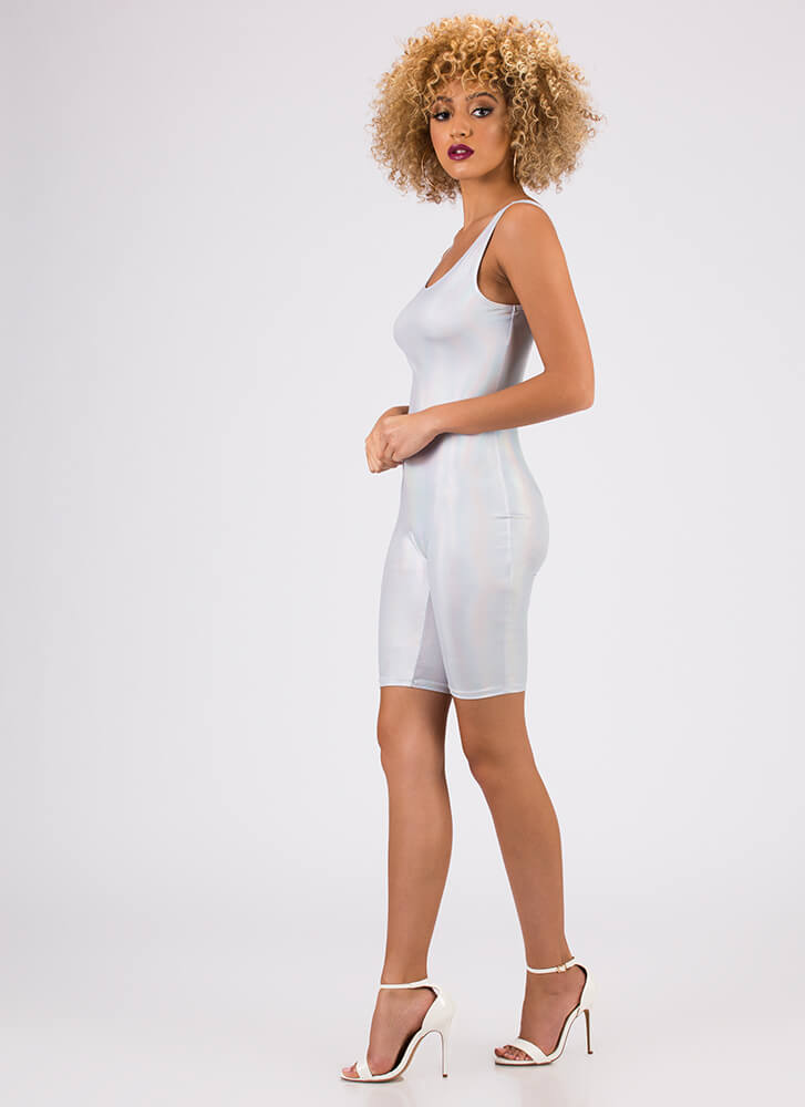 Steal The Sheen Leotard Romper SILVER
