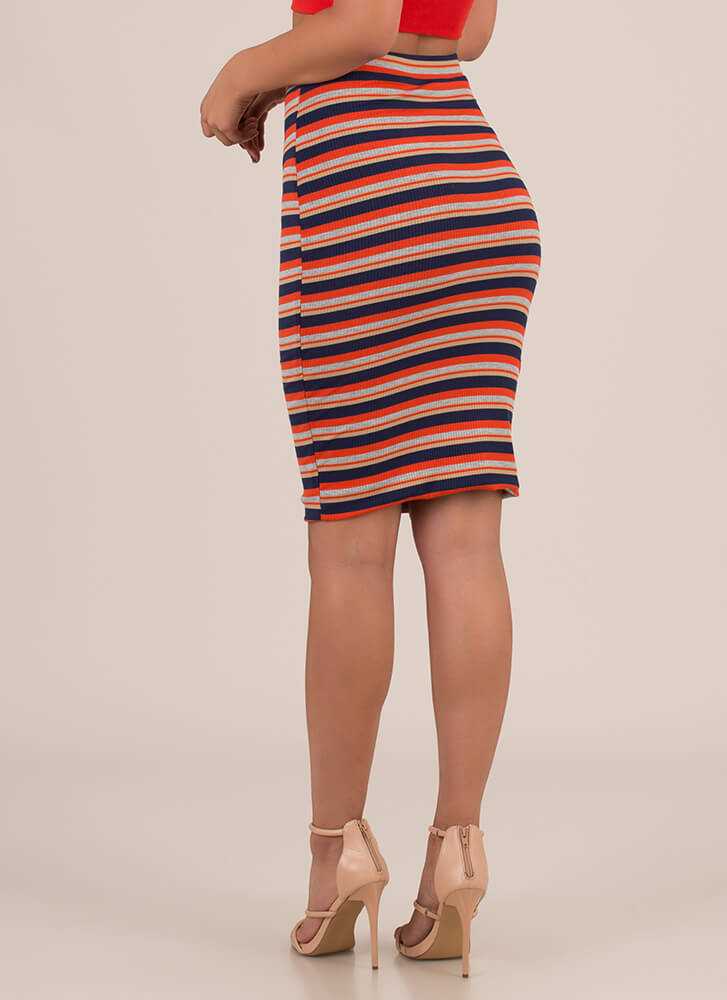 Stripe Search Rib Knit Midi Skirt ORANGENAVY