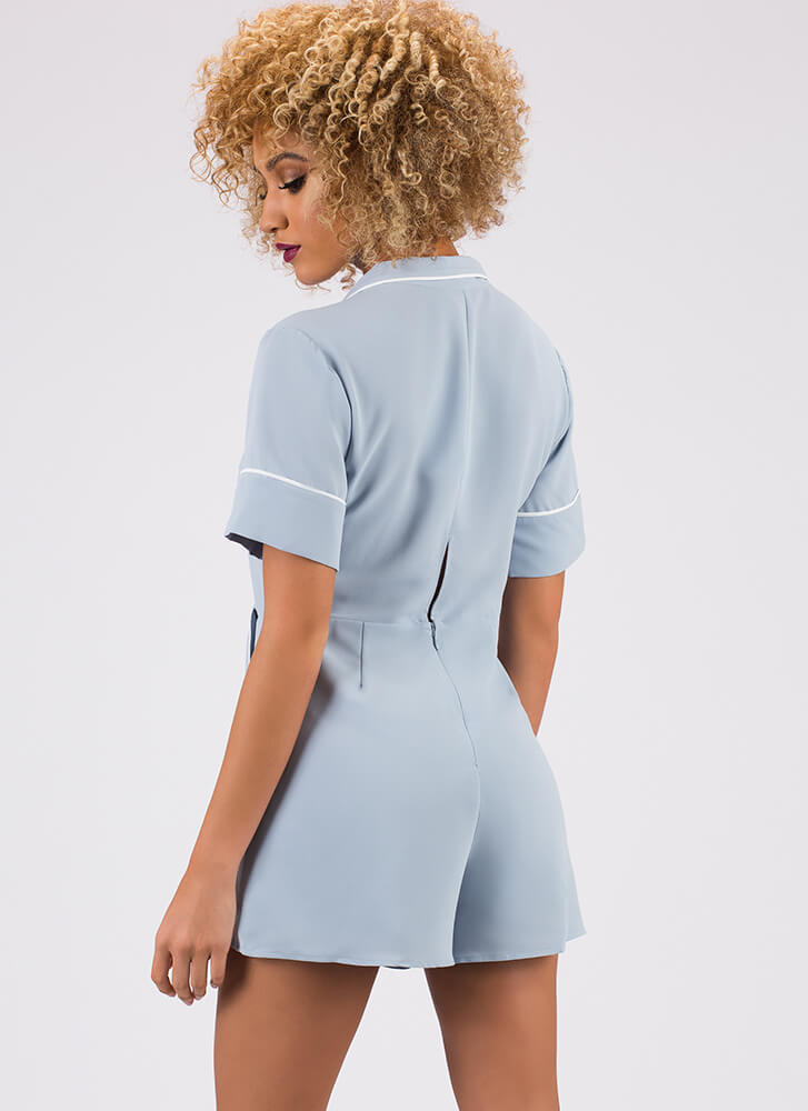 What'll Ya Have Collared Retro Romper BLUE
