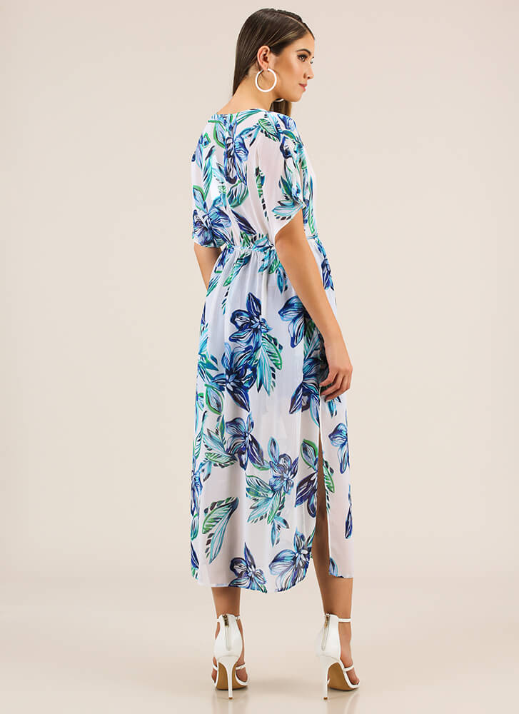 Flowing Florals Dolman Maxi Top BLUE
