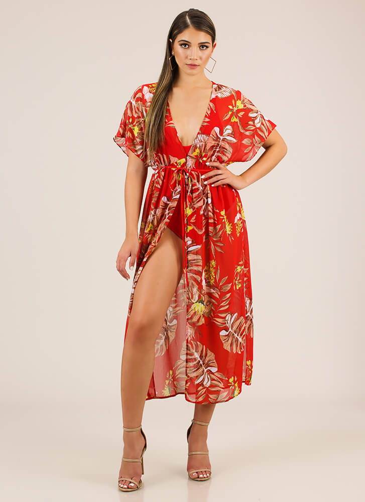 Flowing Florals Dolman Maxi Top RED