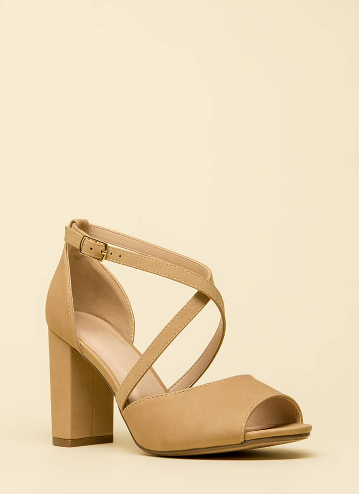 Get Strapped In Chunky Peep-Toe Heels NATURAL