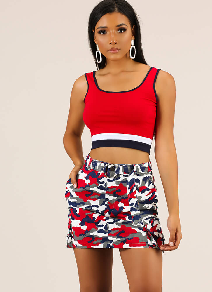 If You Could See Me Now Camo Miniskirt RED