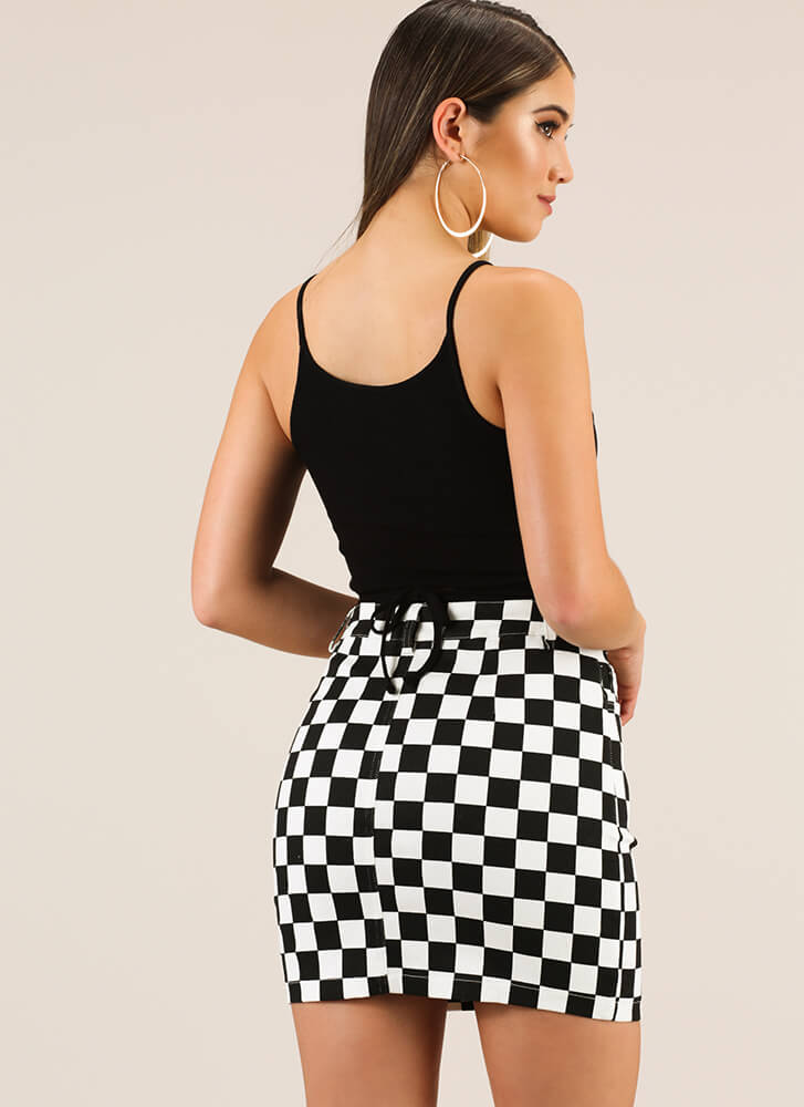 Win The Race Checkered Miniskirt BLACK