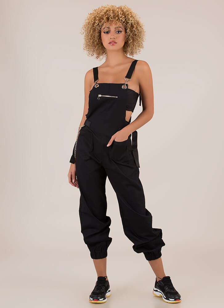 Hot Hardware Chained Jogger Overalls BLACK