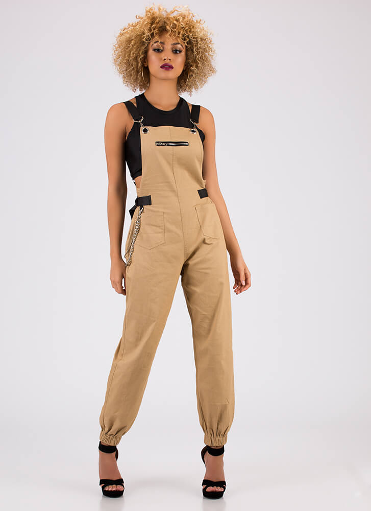 Hot Hardware Chained Jogger Overalls KHAKI