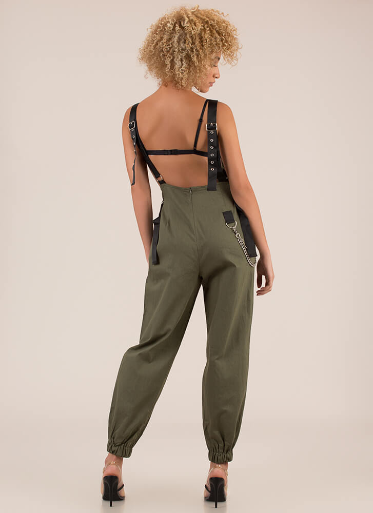 Hot Hardware Chained Jogger Overalls OLIVE