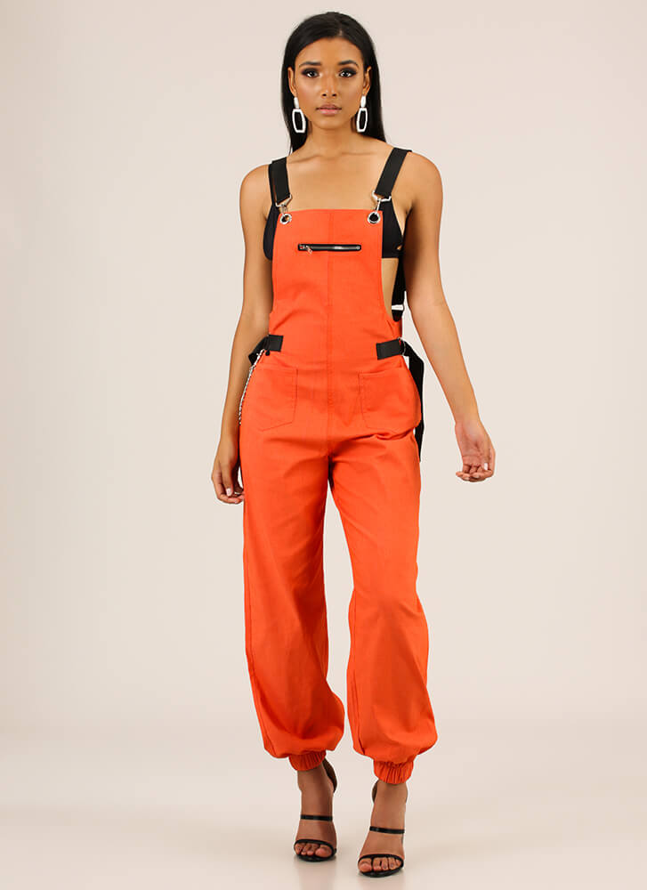 Hot Hardware Chained Jogger Overalls ORANGE
