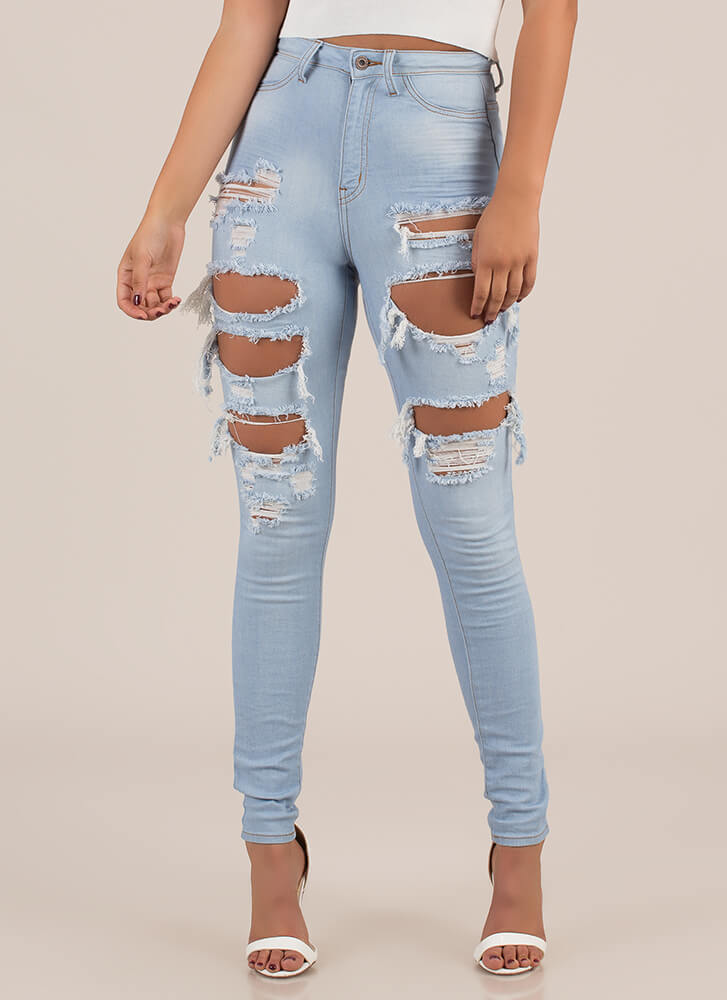 Thigh's The Limit Destroyed Skinny Jeans LTBLUE