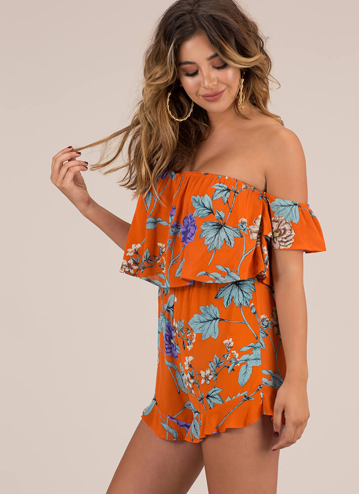Garden Fairy Floral Off-Shoulder Romper ORANGE