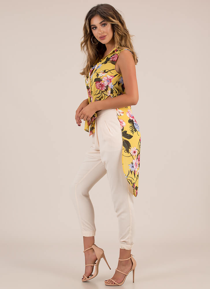 Garden Flowers Tied Longline Blouse YELLOW