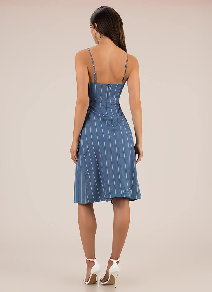 Pinstriped Perfection Cut-Out Dress BLUE