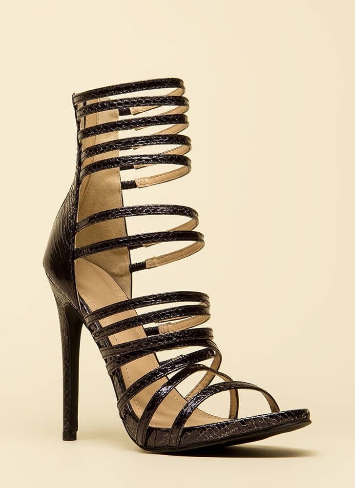 Prey For Me Strappy Scaled Heels BLACK