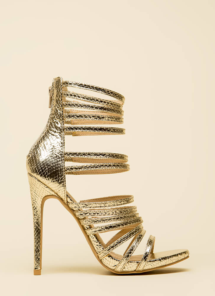 Prey For Me Strappy Scaled Heels GOLD