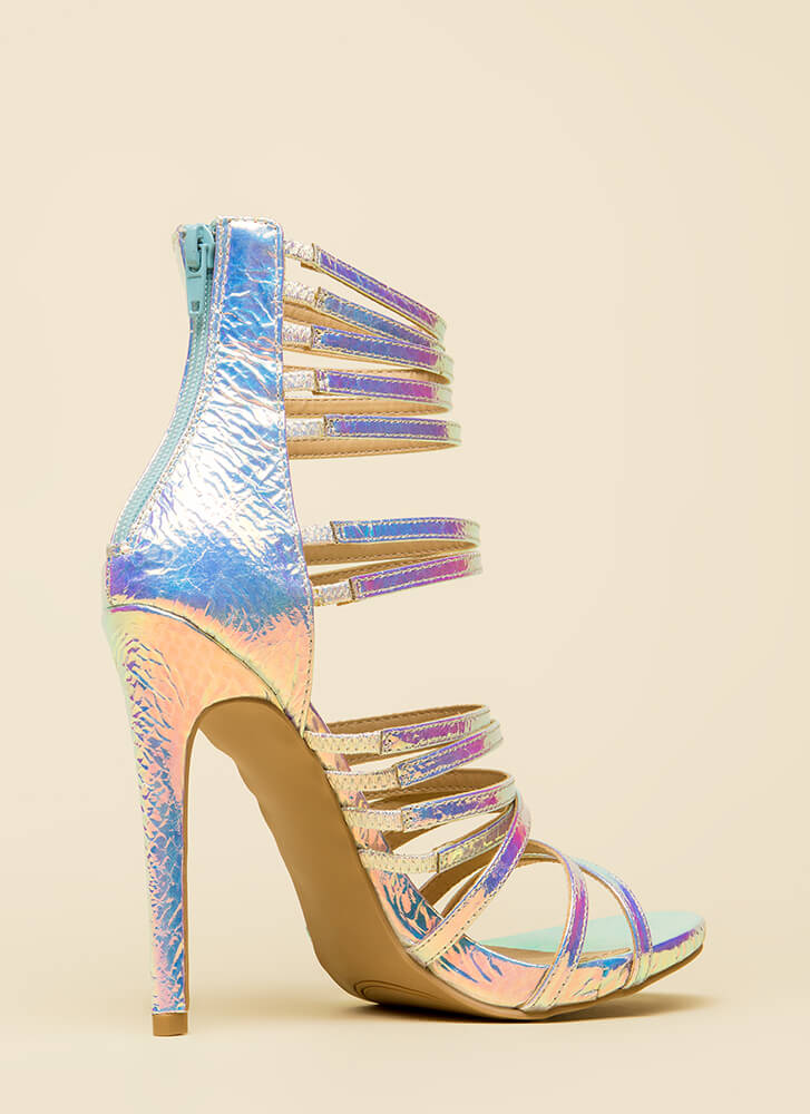 Prey For Me Strappy Scaled Heels SILVER