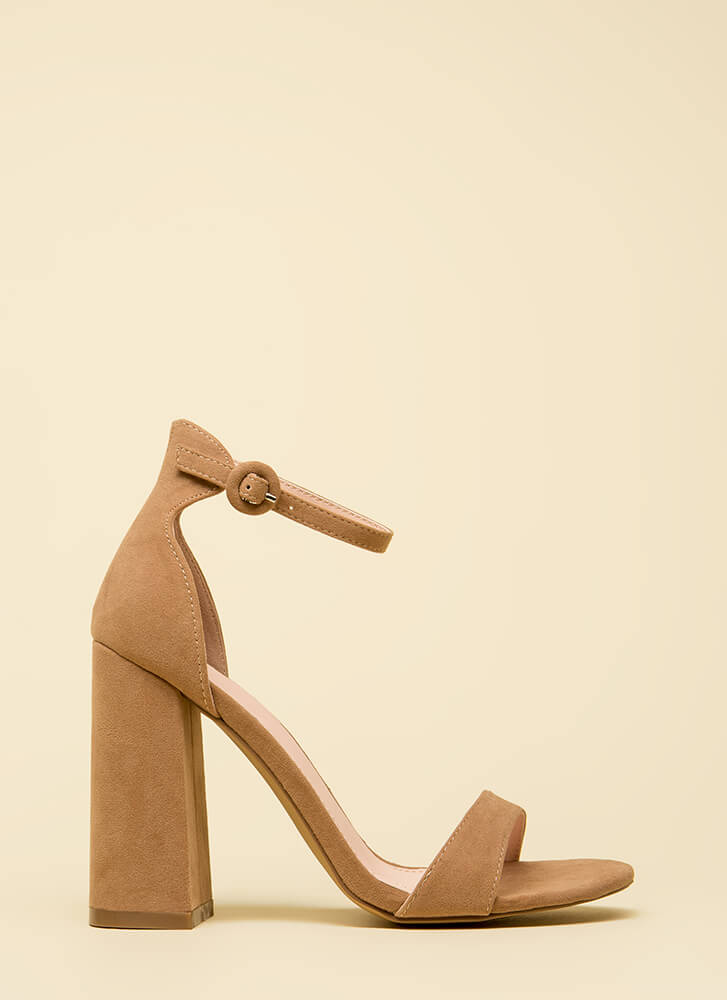 Mi Amor Chunky Ankle Strap Heels TAUPE