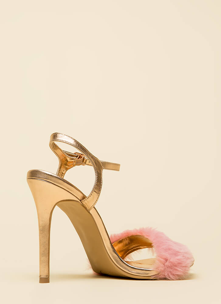 Fur Your Own Sake Metallic Heels ROSEGOLD (You Saved $22)