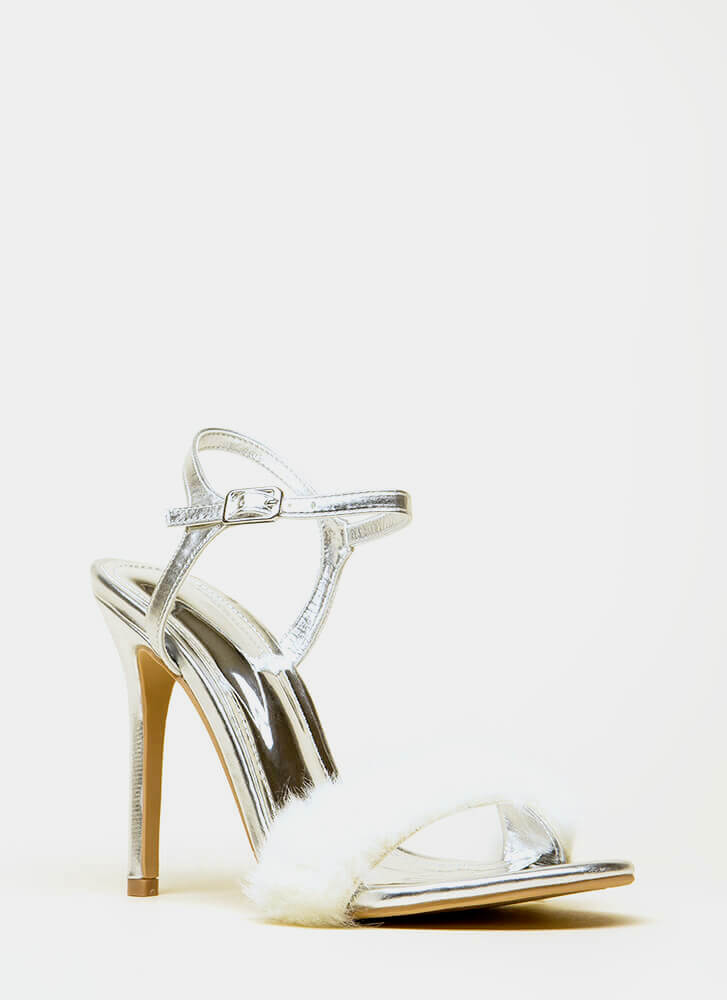Fur Your Own Sake Metallic Heels SILVER (You Saved $22)