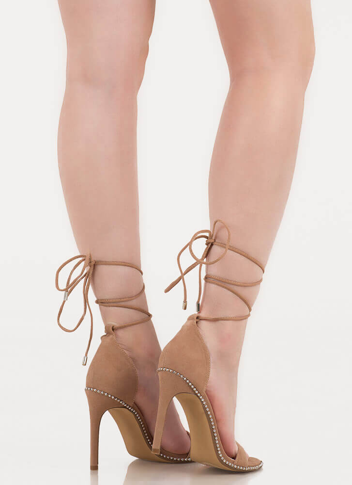 Gorgeous Gams Studded Lace-Up Heels TAUPE