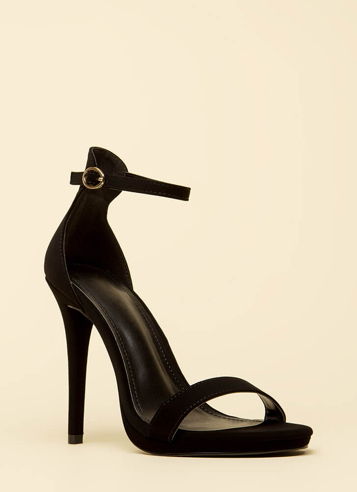 Stand And Deliver Ankle Strap Heels BLACK