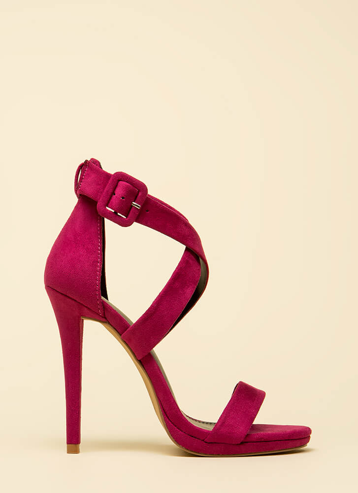 Star-Crossed Lovers Strappy Heels BERRY