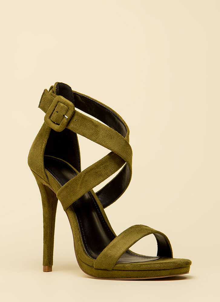Star-Crossed Lovers Strappy Heels OLIVE