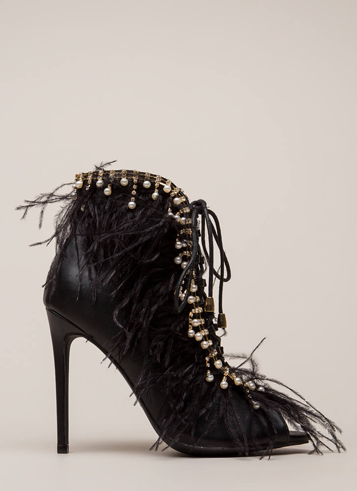 Feathers And Jewels Peep-Toe Booties BLACK