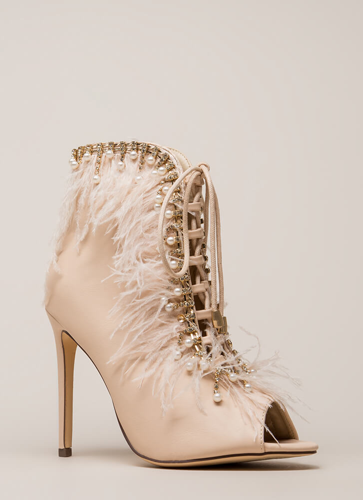 Feathers And Jewels Peep-Toe Booties NUDE