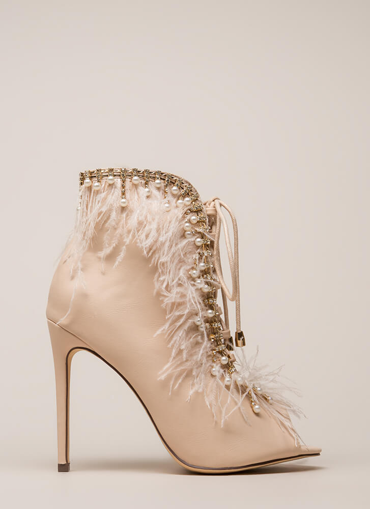 Feathers And Jewels Peep-Toe Booties NUDE (You Saved $52)