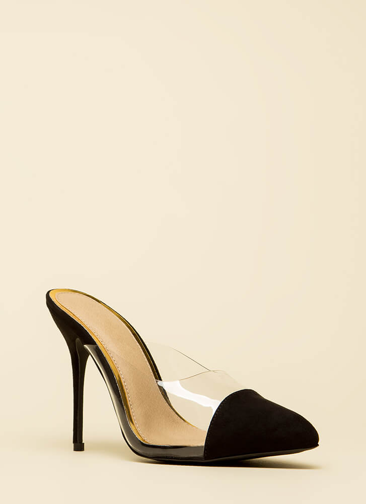 Cap It Off Pointy Clear Mule Heels BLACK