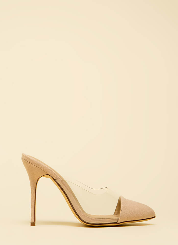 Cap It Off Pointy Clear Mule Heels NUDE