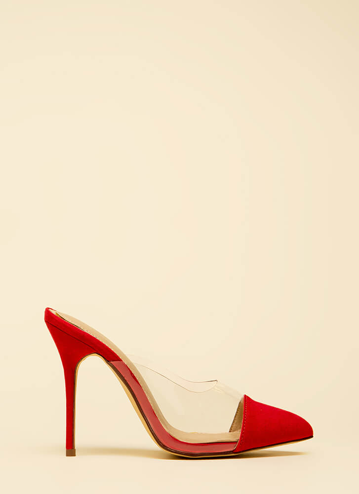Cap It Off Pointy Clear Mule Heels RED