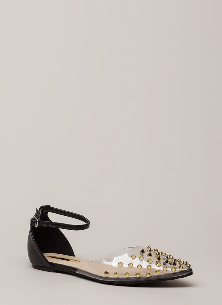 Clearly Edgy Spiky Strappy Studded Flats BLACK