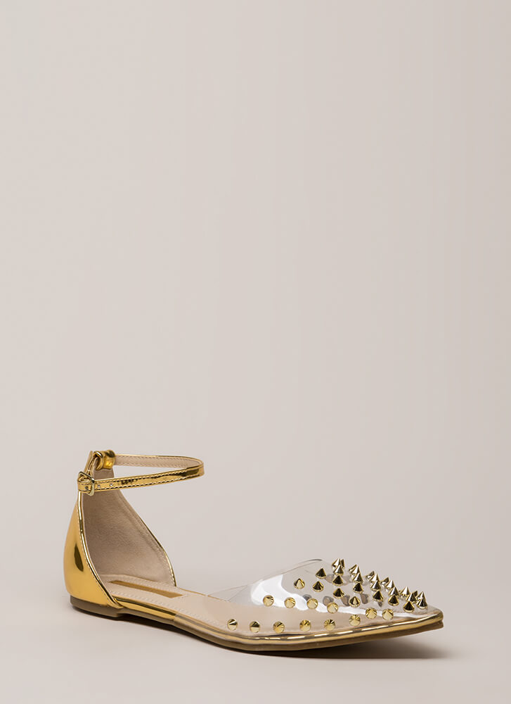 Clearly Edgy Spiky Strappy Studded Flats GOLD