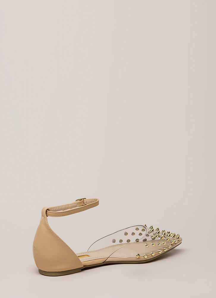 Clearly Edgy Spiky Strappy Studded Flats NUDE