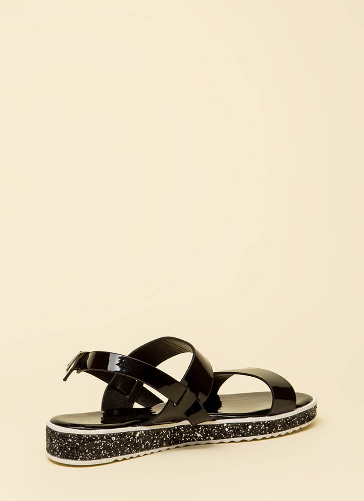 Sparks Fly Glittery Platform Sandals BLACK (You Saved $13)