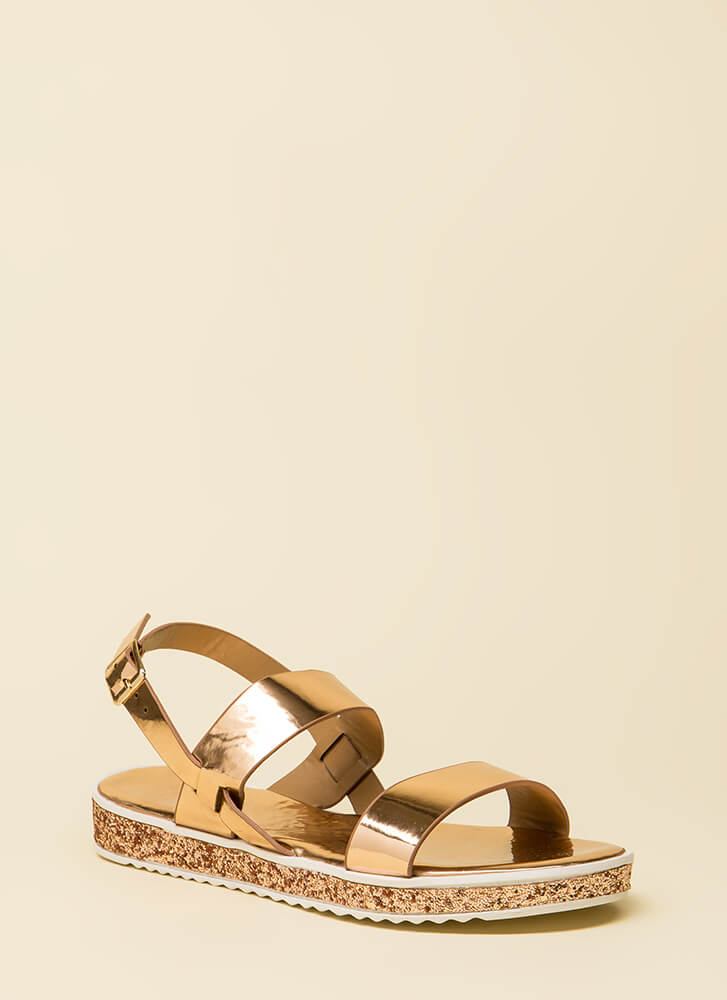 Sparks Fly Glittery Platform Sandals ROSEGOLD (You Saved $13)