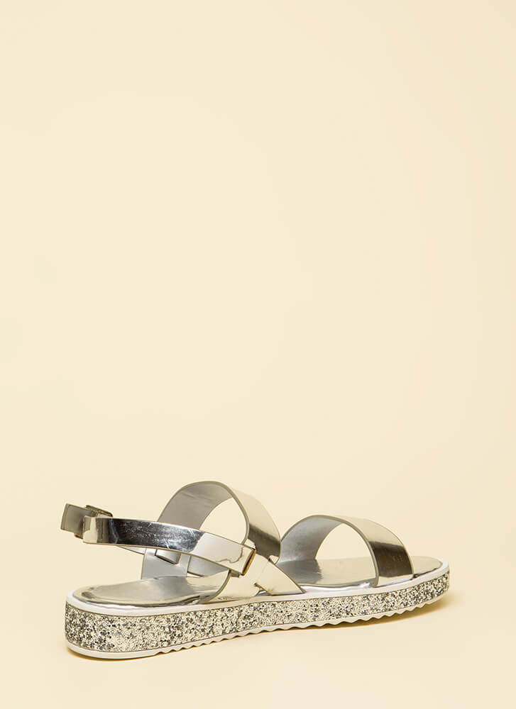 Sparks Fly Glittery Platform Sandals SILVER (You Saved $13)