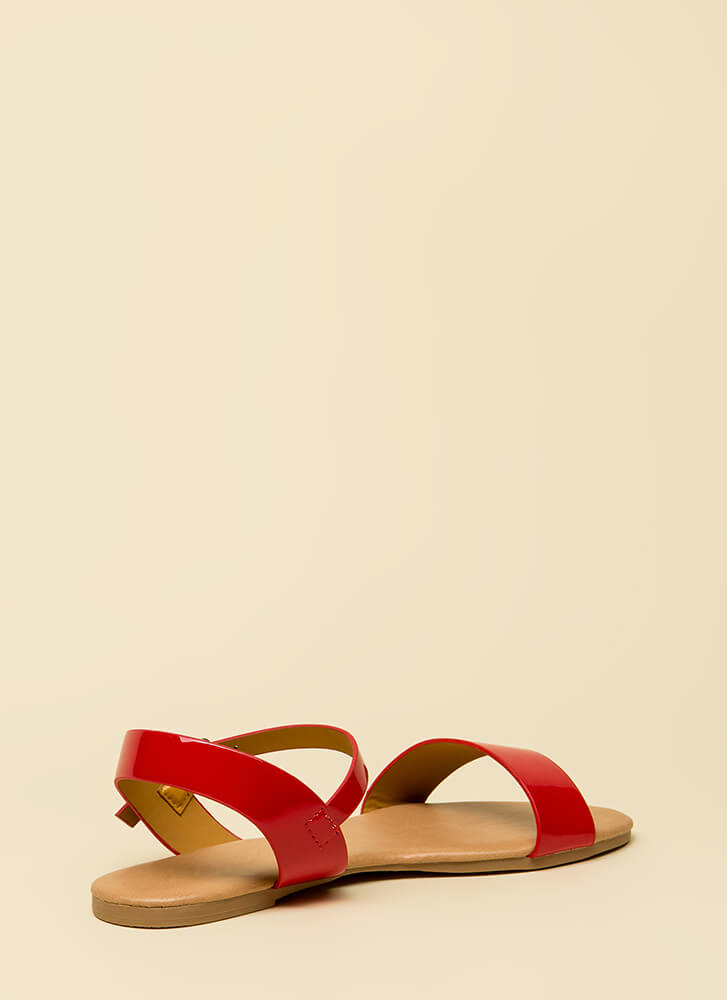 Weekend Bound Ankle Strap Sandals RED