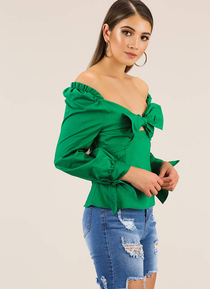Bow For It Tied Off-Shoulder Top KELLYGREEN