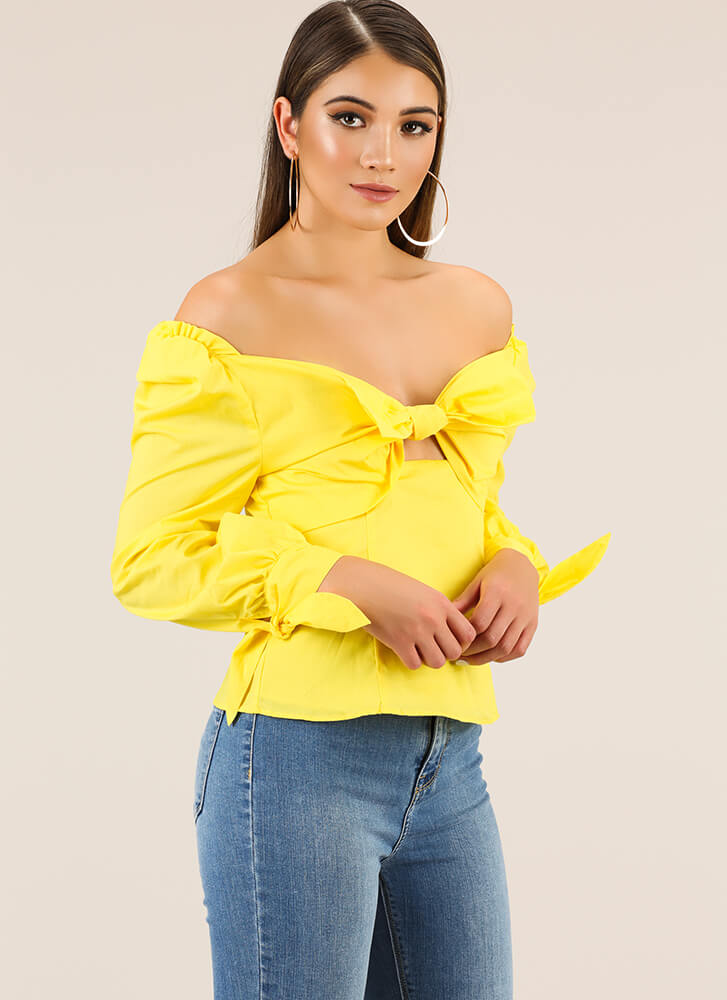 Bow For It Tied Off-Shoulder Top YELLOW