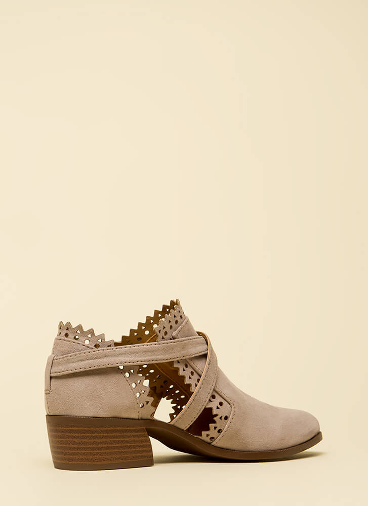 Pretty In Pinked Strappy Cut-Out Booties TAUPE