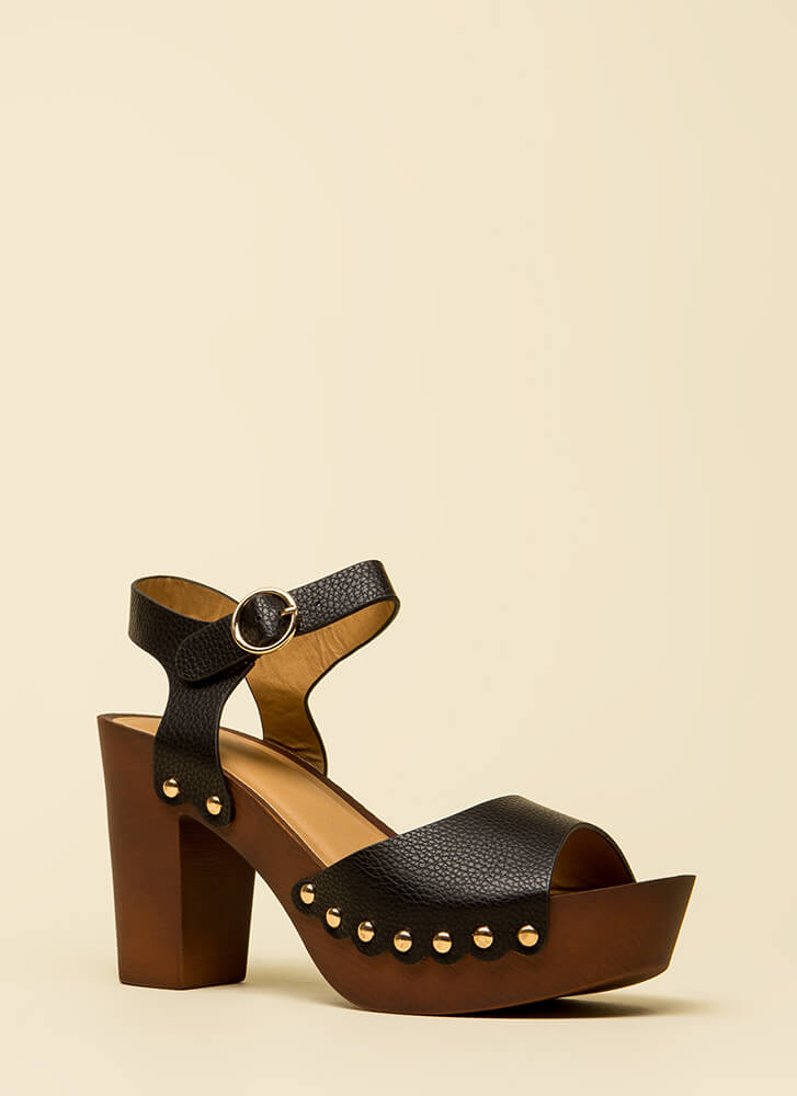 My Weekend Chunky Studded Platforms BLACK