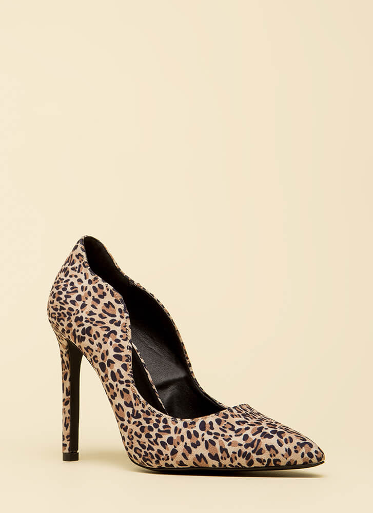 Wave High Pointy Leopard Pumps CAMEL