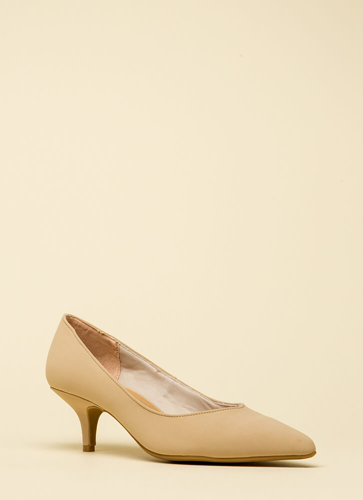 Enchanted Faux Nubuck Kitten Heels NUDE