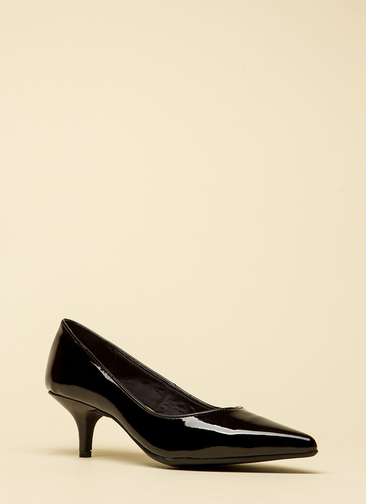 Enchanted Faux Patent Kitten Heels BLACK